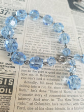 Ice Blue large faceted cut graduated Austrian Crystal vintage beaded bracelet RARE