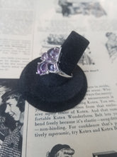 Amethyst 4 stone abstract sterling silver cocktail ring size 8 & 1/4