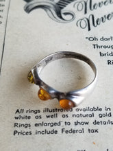 Triple stone all Three tone Amber sterling silver band size 7