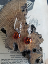 Cognac amber sterling silver locking lever back earrings