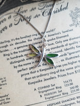 Dragonfly plique a jour yellow and green sterling silver necklace