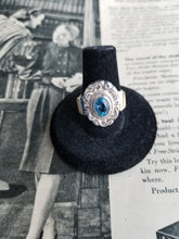 Antique Windam Art Nouveau Ice blue topaz 585 14k gold sterling silver ring size 7