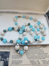 Art Deco Aqua blue Czech glass Opera length 37 inch beaded glass necklace