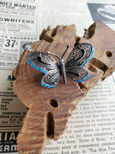 Baby blue and black enamel sterling silver butterfly antique brooch