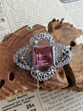 Art Deco rhodium pink Princess cut Czech glass and marcasite vintage brooch