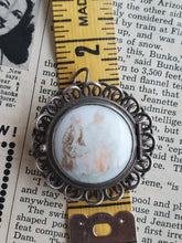 Mexico JA sterling silver vintage locket pendant brooch with painted porcelain Victorian couple