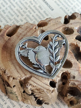 "Vintage 1940 Coro Pegasus ""NORSELAND"" Bird in a Heart sterling silver Brooch Pin"