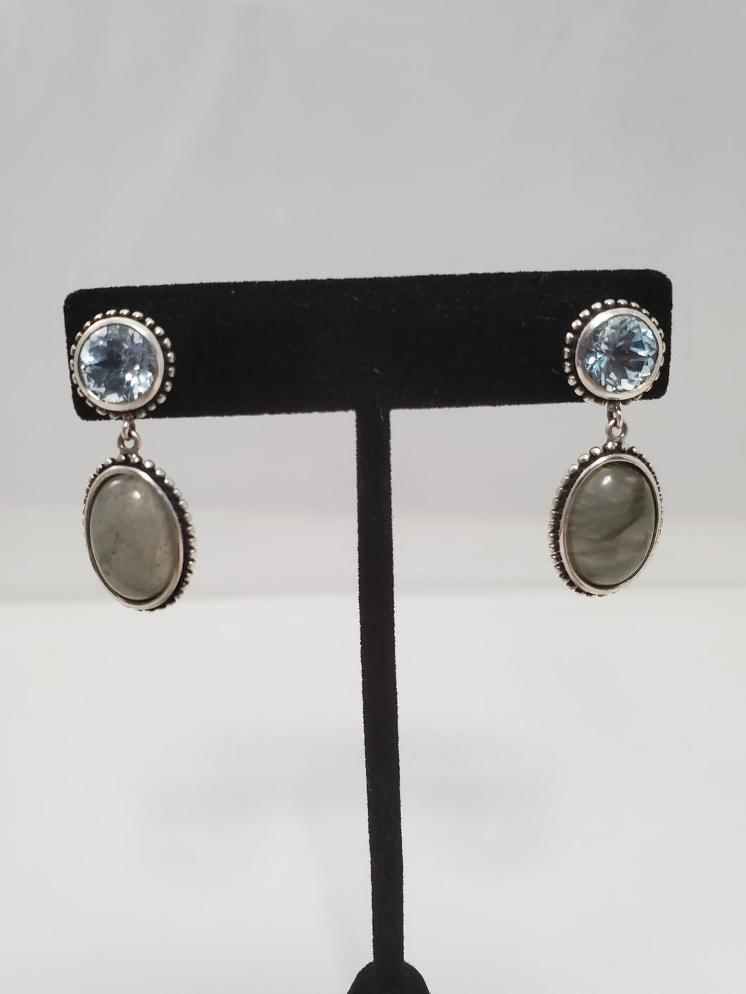 Vintage FD Balinese blue topaz and moonstone sterling silver earrings 925