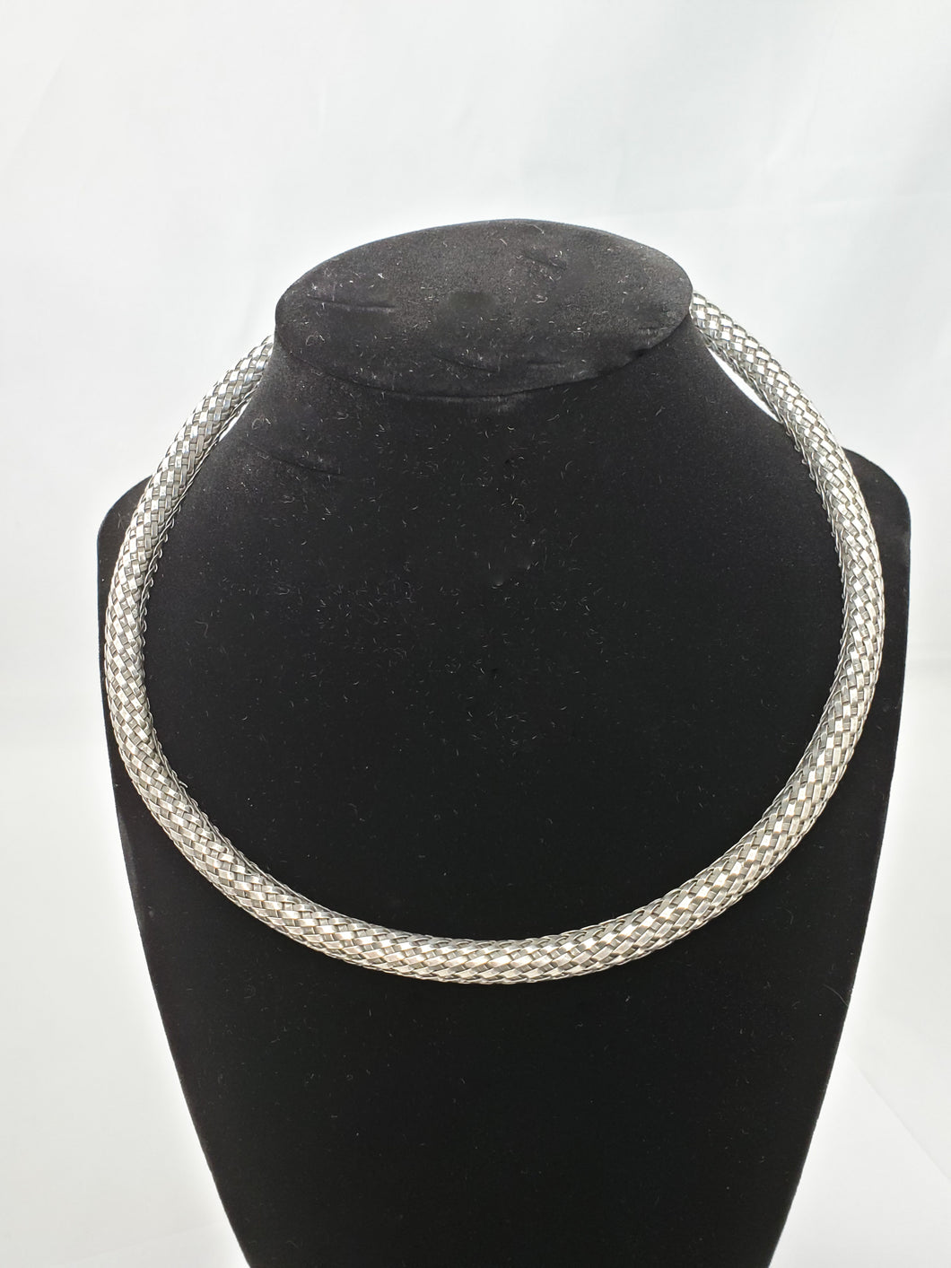 Estate Sterling silver solid 925 wheat woven collar omega necklace 48 grams