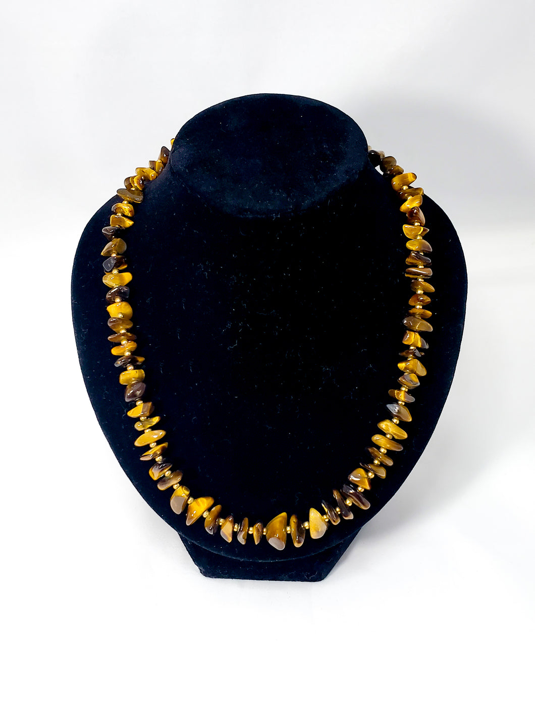 Flashy striated Tiger's Eye gemstone chip necklace with gold filled accents 16 inches