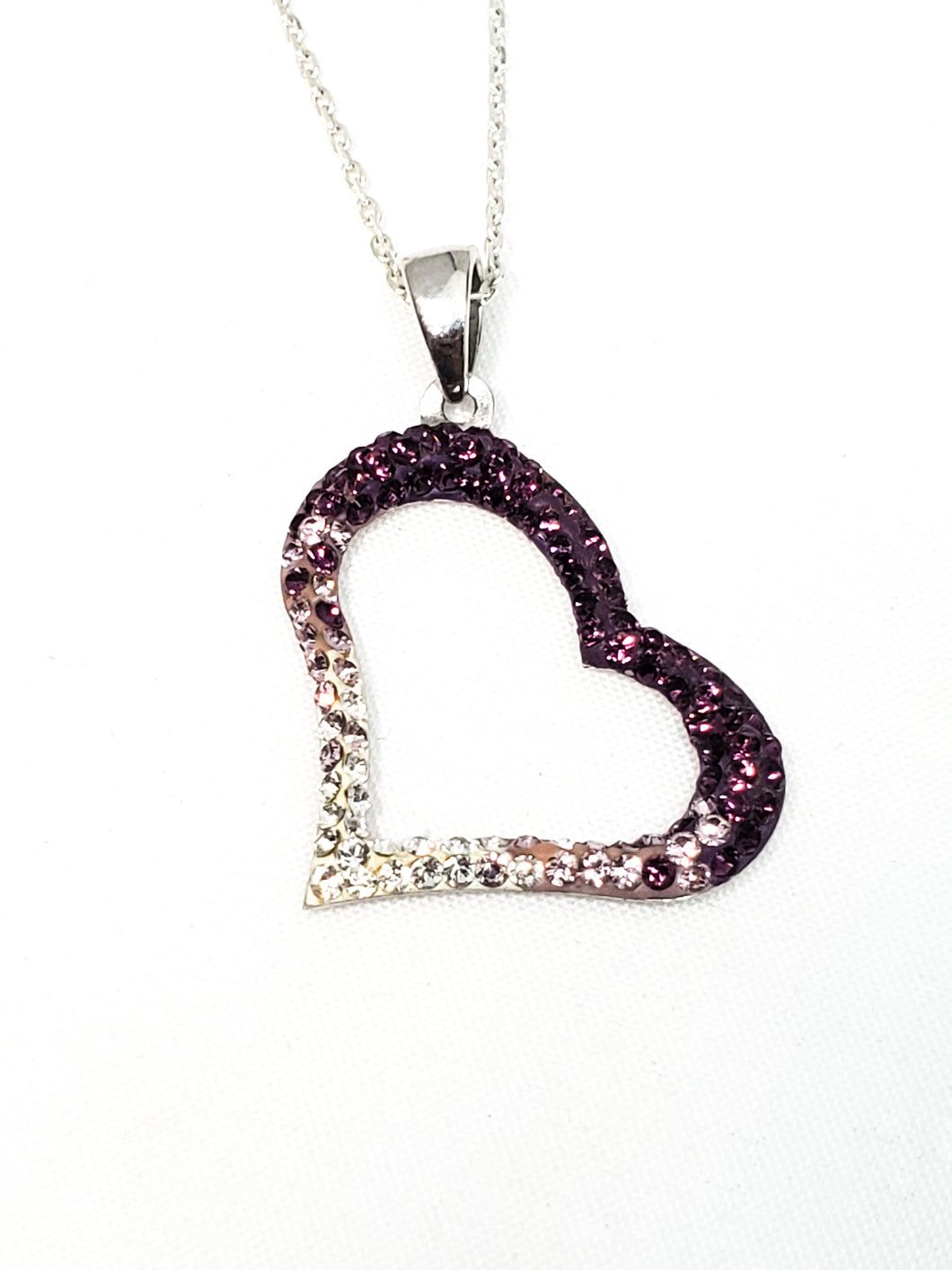 Purple heart sterling silver Cubic Zirconia pave off set necklace 925