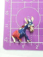 Vintage Democratic Politcal Donkey brooch Red White and Blue Americana Democrat