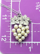Vintage Japanese signed Akoya style grape sterling silver pearl necklace brooch