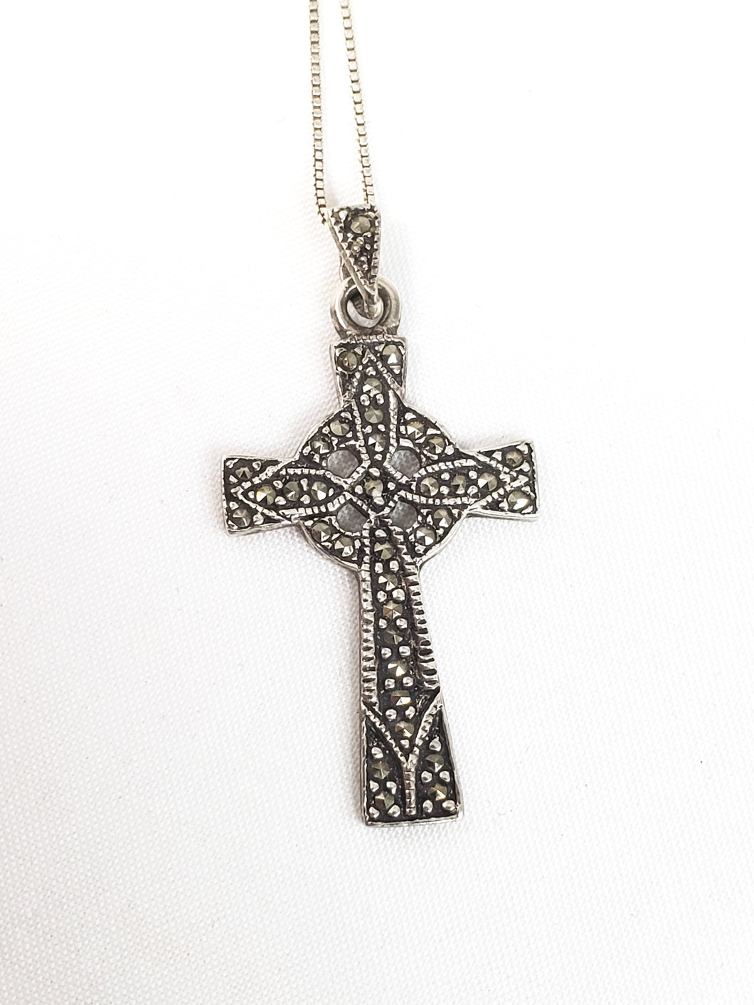 Vintage MJW marcasite and sterling silver cross necklace 925