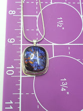 Vintage Dichroic glass sterling silver artisan pendant necklace 925