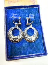 Bombay Bazar vintage Nielloware Siam dancers drop hoop vintage earrings