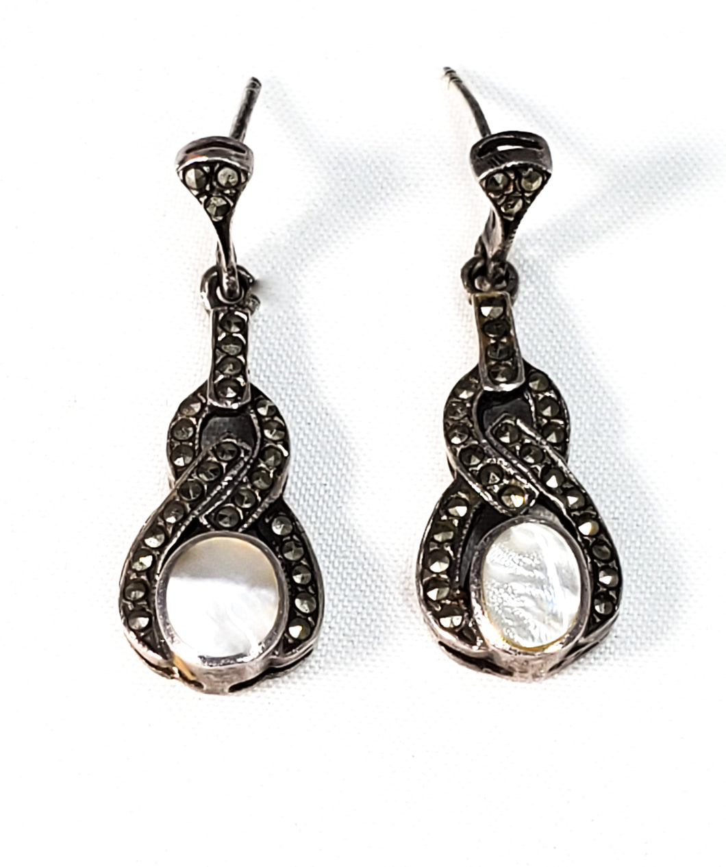 Marcasite and mother of pearl MOP sterling silver vintage drop earrings 925