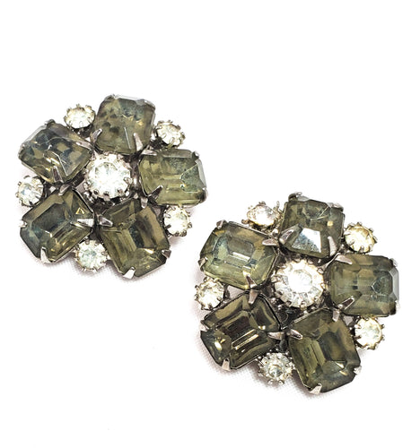 Smokey Grey flowers large rhinestone cluster clip on mid century earrings