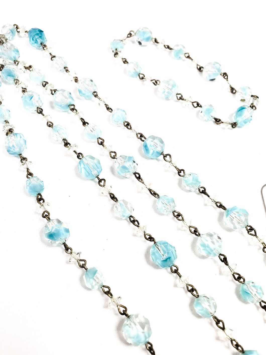 Antique blue and clear bi-colored lead glass faceted beads on brass chain demi parure set