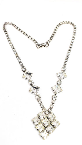 Princess cut vintage clear rhinestone mid century necklace 1950's