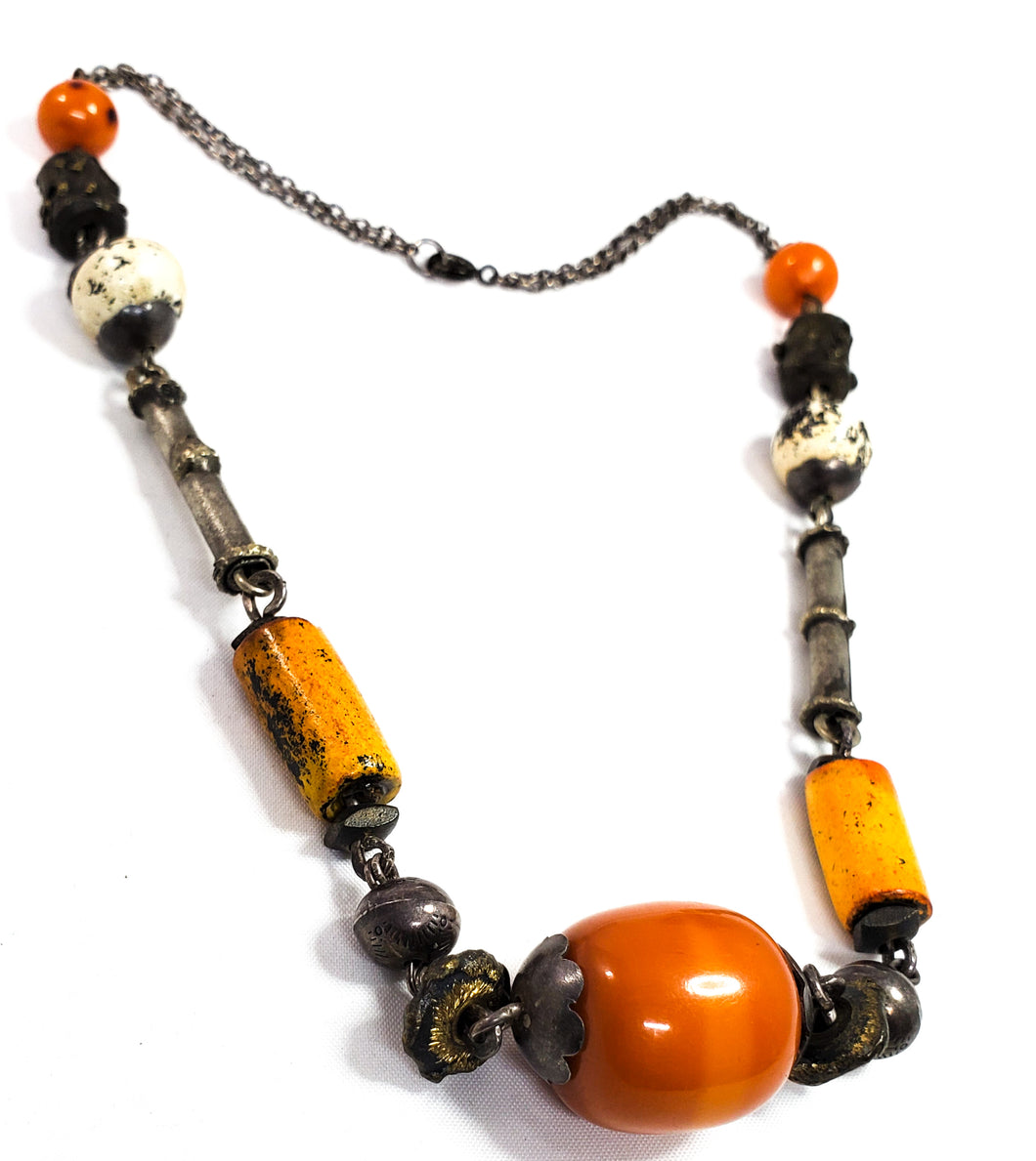 Rare Lavant handcrafted Tribal beaded 950 silver and Faturan Amber Resin necklace *tested*