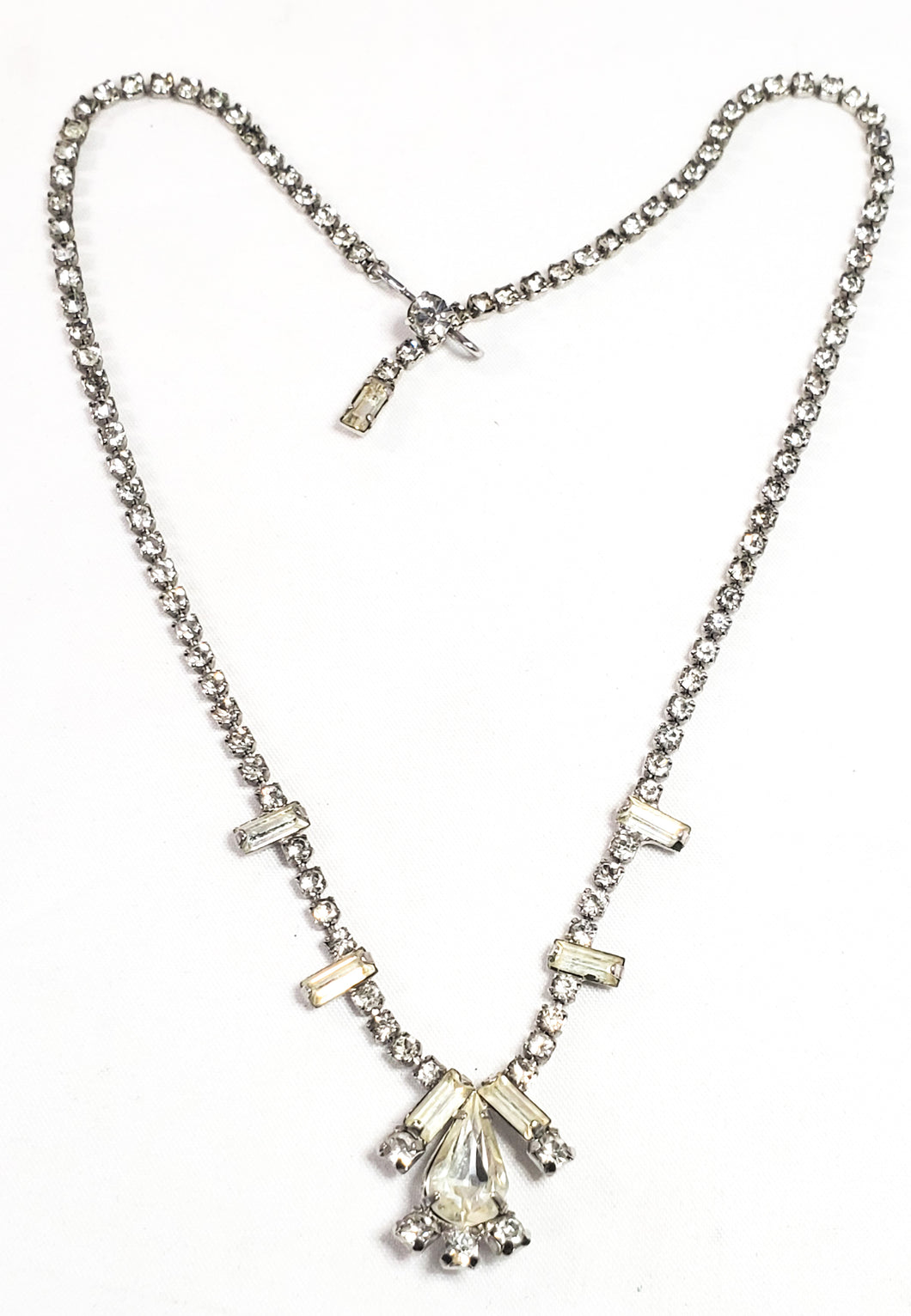 Weiss teardrop and baguette clear sparkling rhinestone necklace mid century 1950's