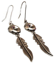 Native American Navajo drop flower and feather sterling silver vintage earrings 925 NA