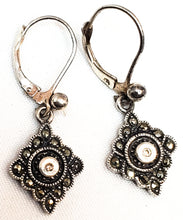 Fuller Diamond and marcasite sterling silver vintage drop earrings 925
