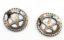 Star medallion badge open work sterling silver southwestern style earrings