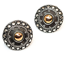 Tribal mandala sterling silver and copper button  vintage earrings 925