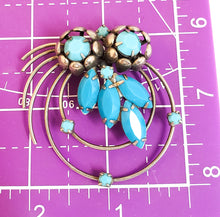 Baby blue rhinestone flower cup atomic scatter brooch mid century pin up vintage