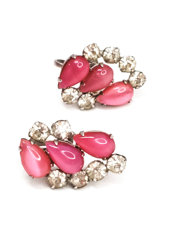 Antique pink cats eye glass and rhinestone screw back earrings