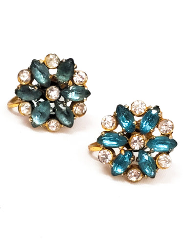 Antique light blue rhinestone gold over sterling silver screw back earrings