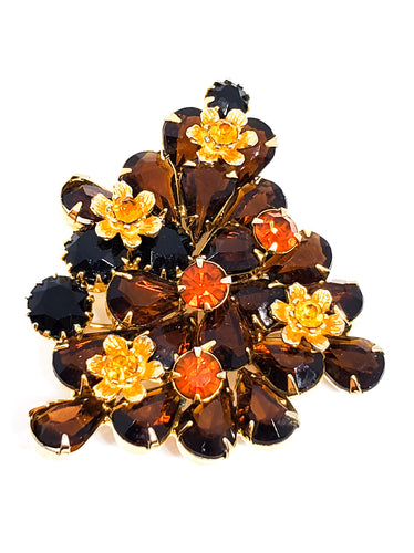 Topaz pear cut and gold toned flower rhinestone brooch unsigned beauty mid century