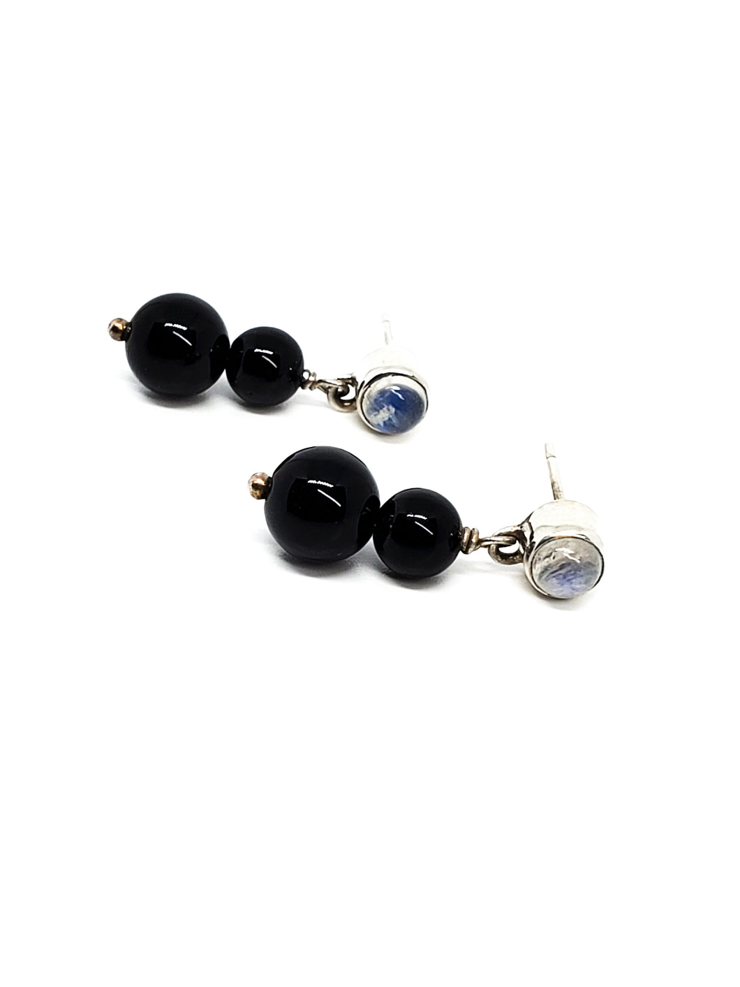 Nikki Butler Blue Moonstone and Black Onyx drop sterling silver earrings 925