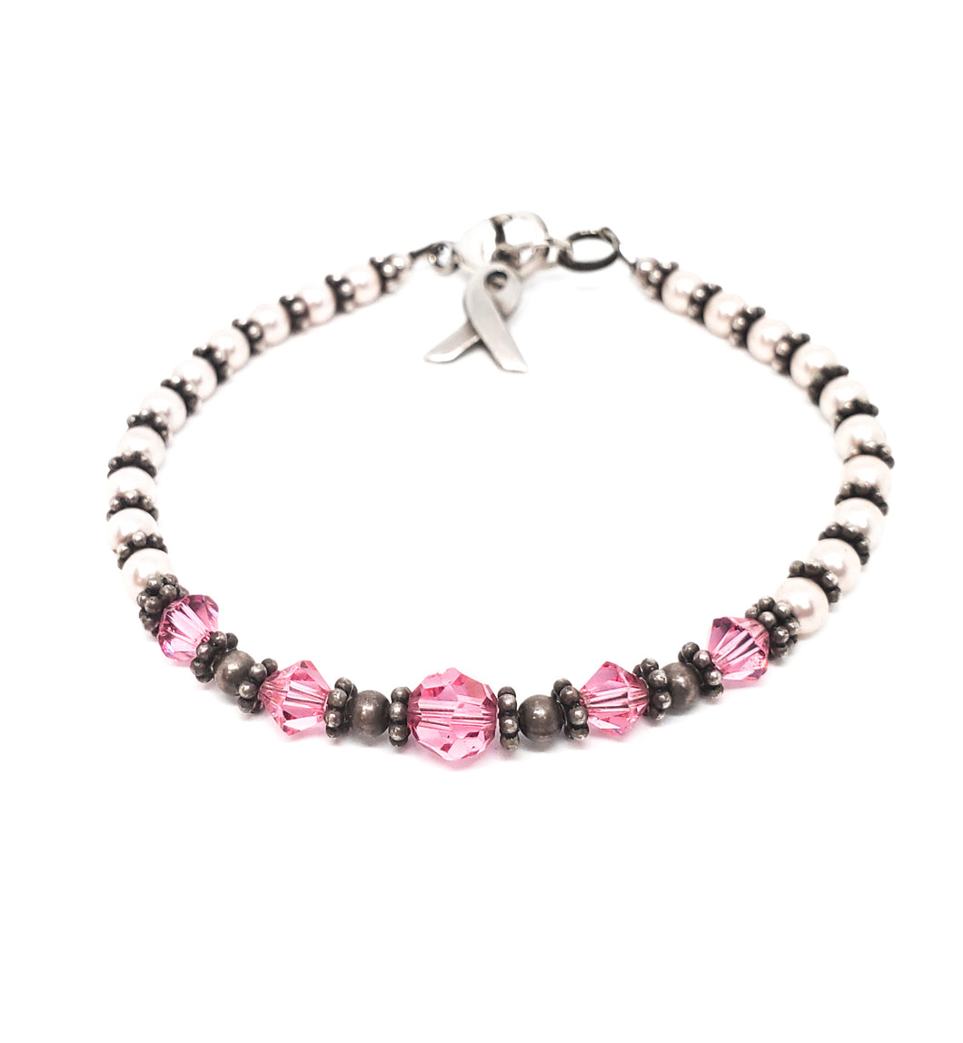 Sacred journey Breast Cancer Awareness Hope sterling silver beaded bracelet 925