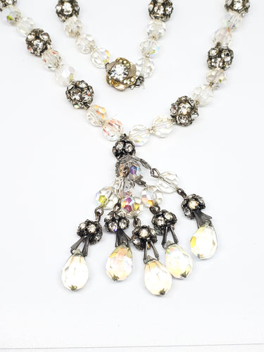 Austrian crystal and rhinestone beaded vintage necklace with pendant 21 inches