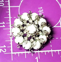 Juliana D & E milk glass silver toned S scroll circle flower vintage brooch mid century