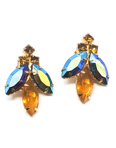 Figural Bee aurora borealis and topaz rhinestone vintage clip on earrings