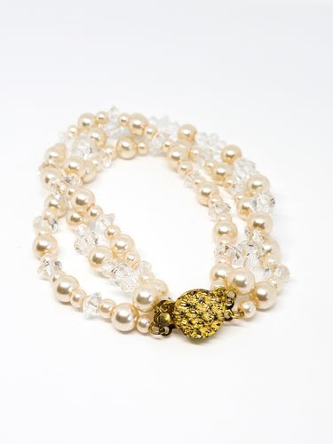 Austrian crystal and faux pearl 3 strand gold toned vintage beaded bracelet