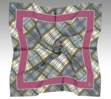 Jim Dandy Mini Scarf in Vibrant Pink/Orchard Plaid satin - GinnyMoon