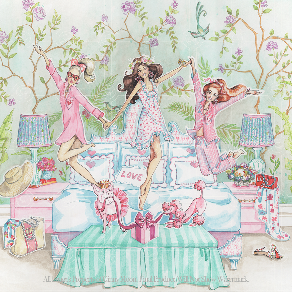 Giclee Fine Art Print, Pink Pajama Party - GinnyMoon