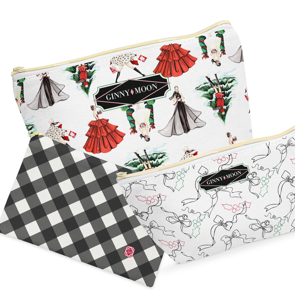 Cosmetic Bag Set- Luxe Christmas - GinnyMoon