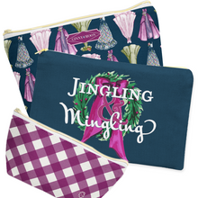 Cosmetic Bag, Large Flat in Navy Jingling & Mingling - GinnyMoon