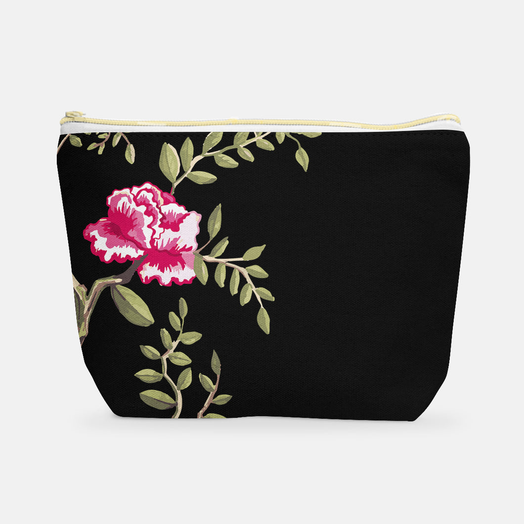 Cosmetic Bag, Large T-Bottom Black/Cherry Peony - GinnyMoon