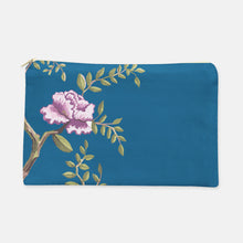 Cosmetic Bag, Large Flat in Navy Peony - GinnyMoon