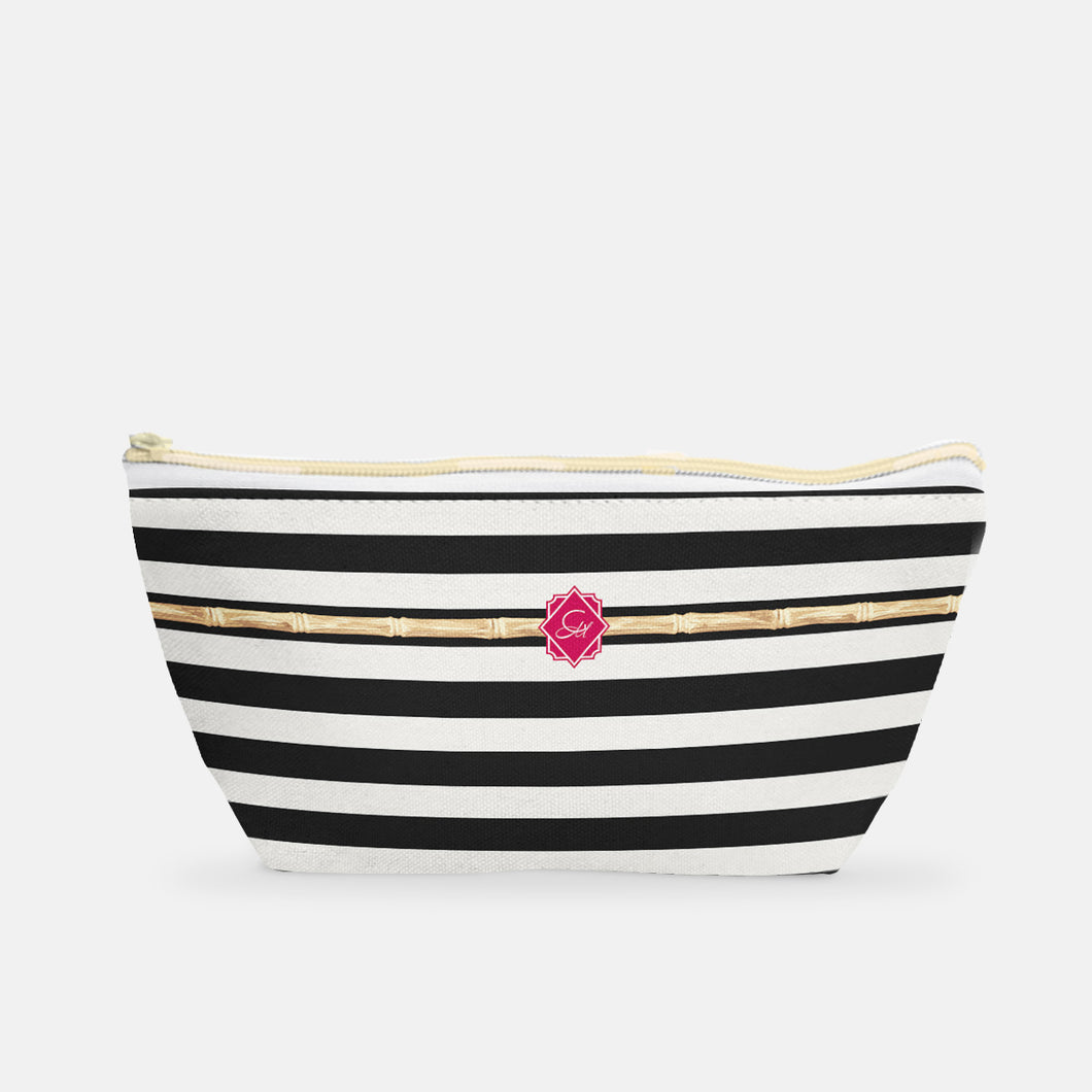Small T-Bottom Cosmetic Bag in Cherry Bamboo Stripe - GinnyMoon