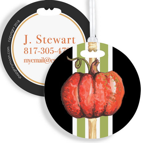 Luggage Tag, Halloween Pumpkin Bamboo - GinnyMoon