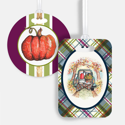 Luggage Tag Set, Plaid Vintage Tailgate - GinnyMoon