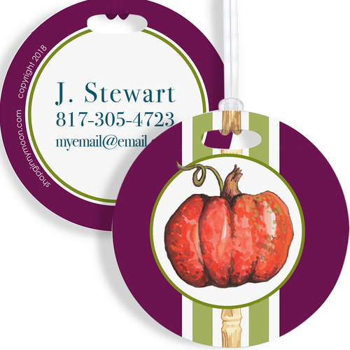 Luggage Tag, Plum Pumpkin Bamboo - GinnyMoon